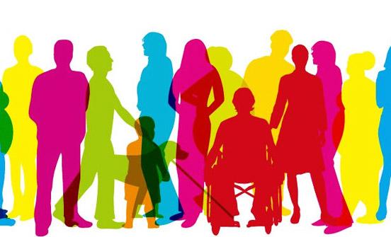 Desenho colorido fomos se fosse jogo de sombras com várias pessoas: algumas em pé, outras com bengala, outras ainda em cadeira de rodas, e um com um cão guia. As cores são fortes: pink, vermelho, coral, verde água e amarelo cítrico. A imagem é de um grupo alegre e harmonioso.