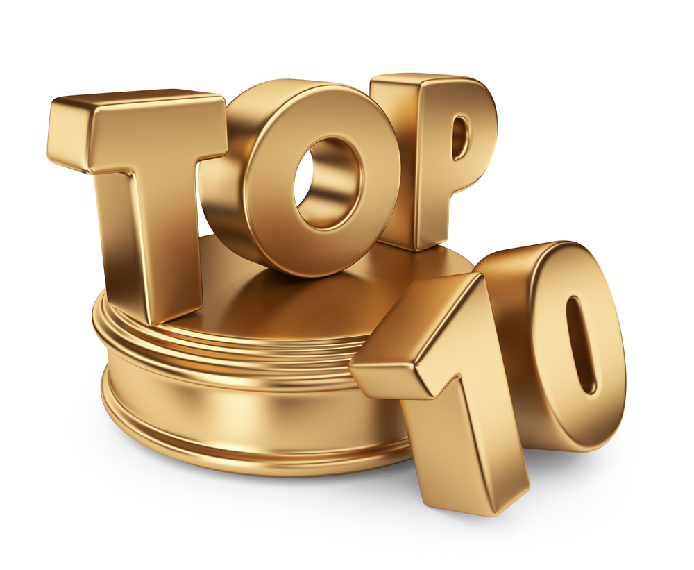 Troféu dourado, TOP escrito sobre uma base também dourada, e ao lado o número 10, dourado, junto a base.