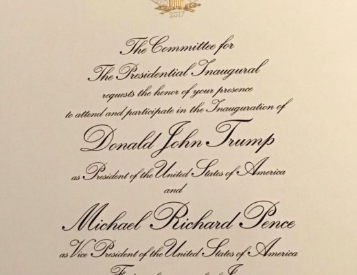 convite oficial da posse do Donald Trump na Presidência dos Estados Unidos da América.