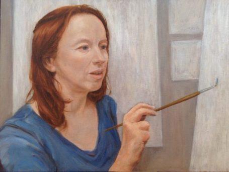 Selbstportrait. Eitempera und Öl auf Malplatte, 40 x 30 cm, 2016