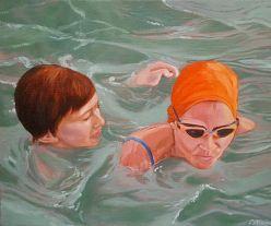 Mutter und Sohn. Acryl und Öl auf Leinwand, 60 x 50 cm, 2017
