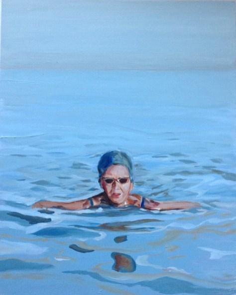 Schwimmerin (1). Acryl auf Malplatte, 20 x 30 cm, 2016