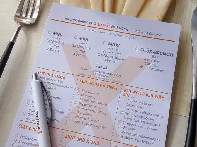 Glüxfall Frühstückskarte