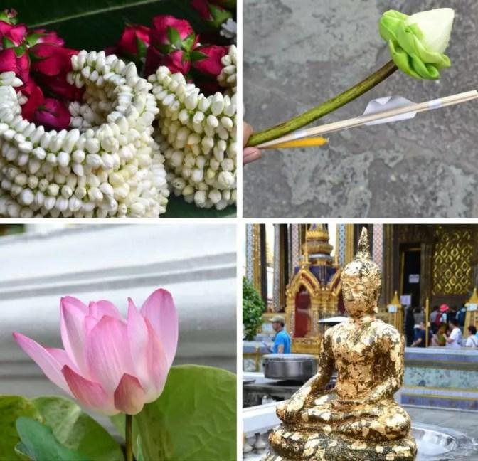 Opfergaben in Bangkok Grand Palace Lotusblüten