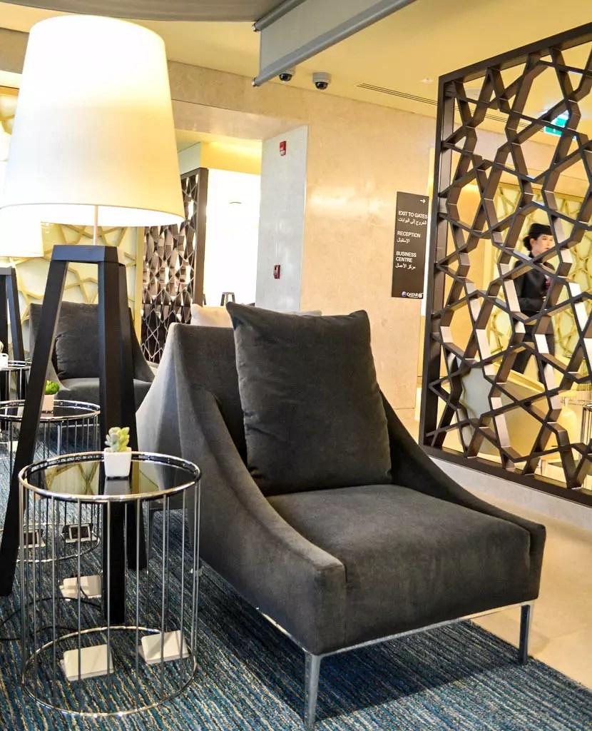 Sessel in der Qatar Airways Lounge Bangkok