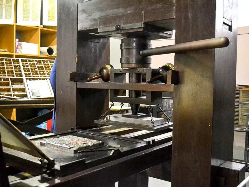 Druckerpresse im Gutenberg Museum