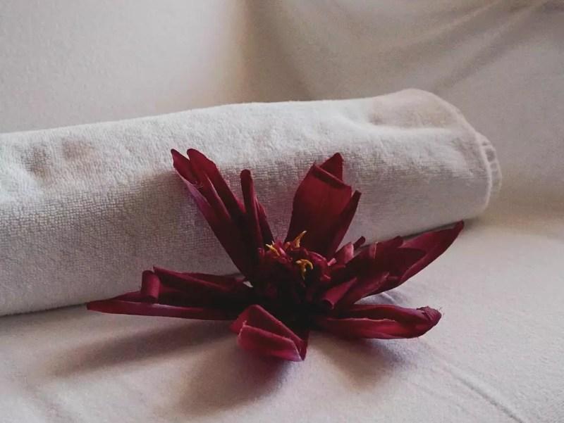 Blume mit Frotteehandtuch