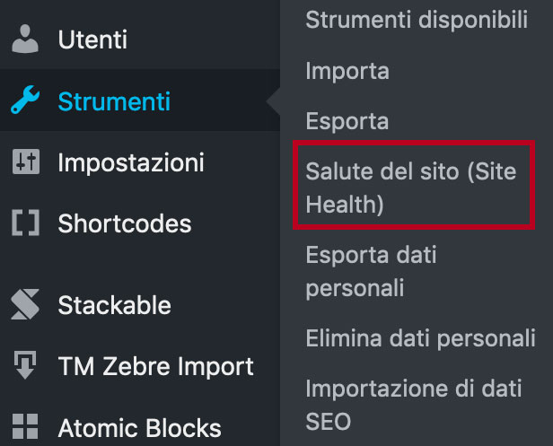 salute del sito wordpress