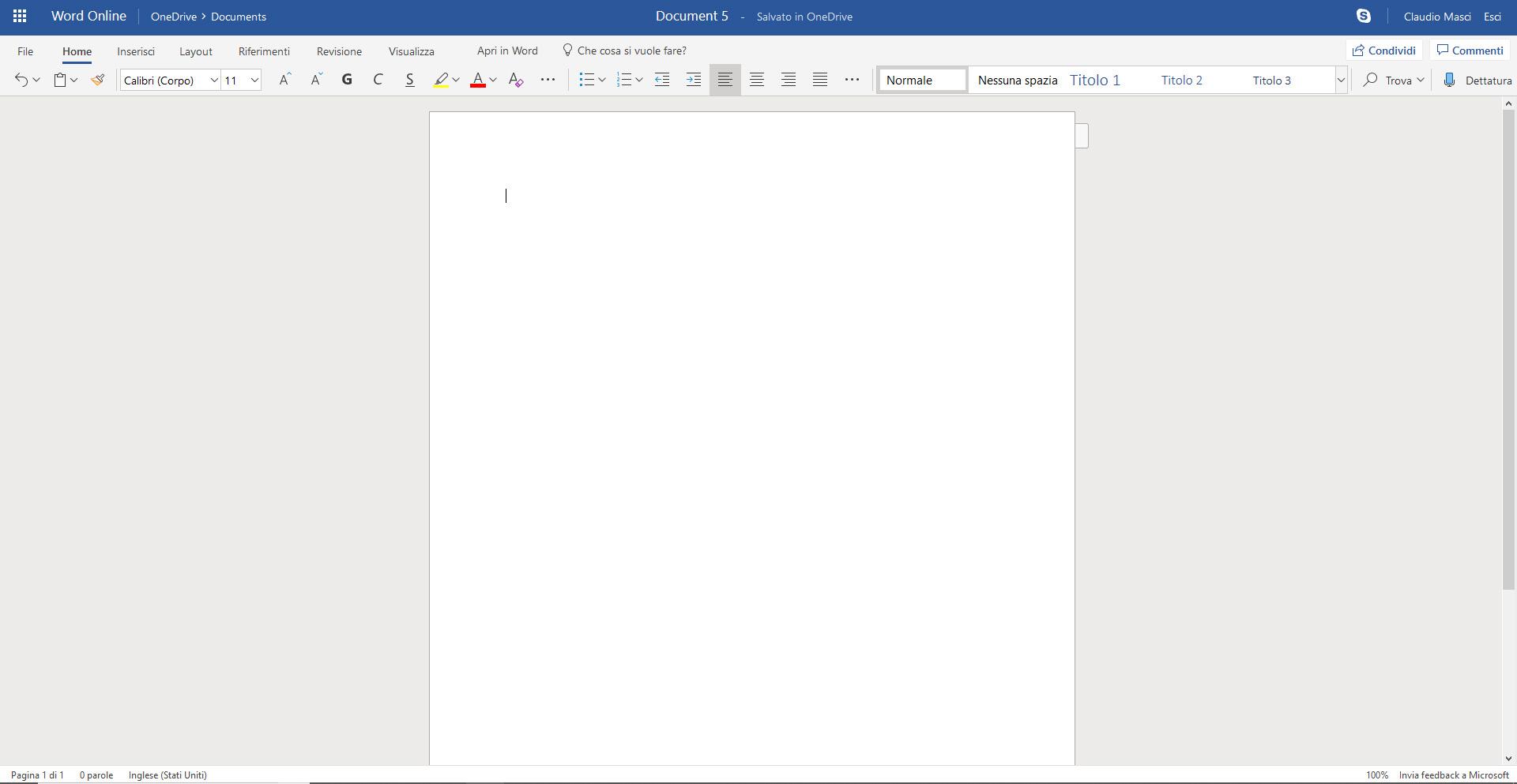 Come usare Microsoft Word Online - Schermata Word