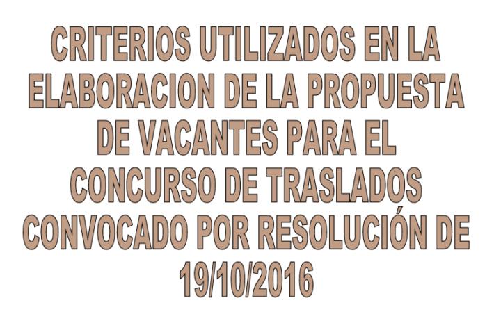 Criterios utilizados en la elaboración de las propuestas de vacantes para el concurso de traslados convocado por Resolución de 19/10/2016