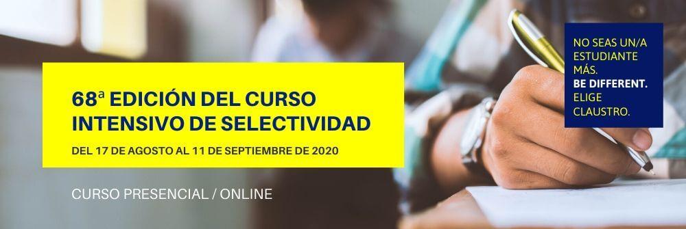Curso intensivo PEvAU (Selectividad) de septiembre 2020 - Academia CLAUSTRO Sevilla