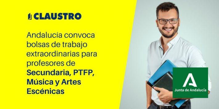 [Andalucía] Convocatoria de bolsas docentes restringidas para profesores de Secundaria, PTFP, EOI, Música y Artes Escénicas, Plásticas y Diseño