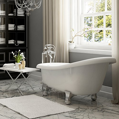 luxury 60 inch clawfoot tub with vintage slipper tub design in white includes chrome cannonball