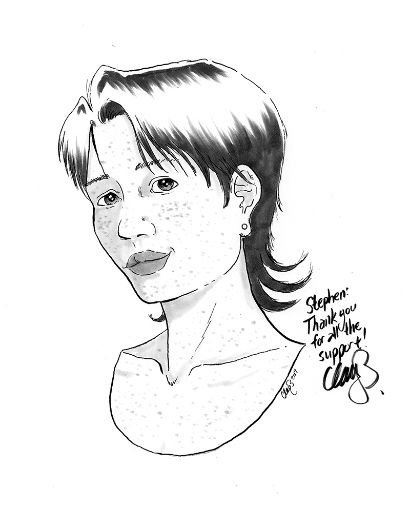 January 2017 sketch of Wren (depression comix) won by Stephen.
