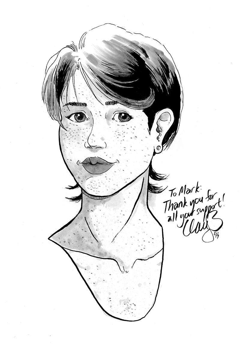 August 2017 sketch of Wren (depression comix) won by Mark