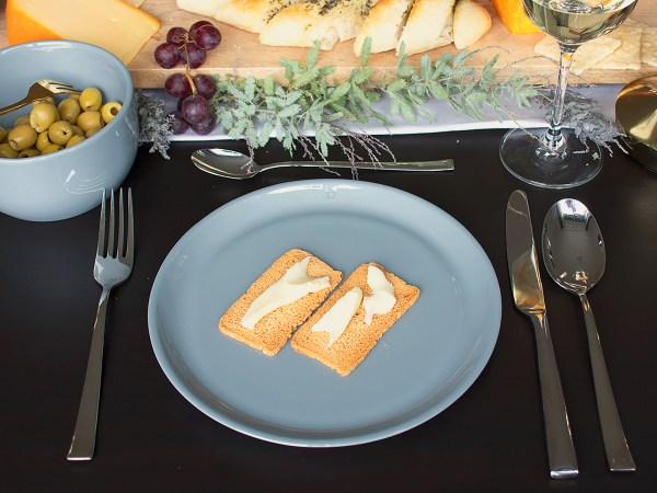 Ontbijtbord porselein grijsblauw