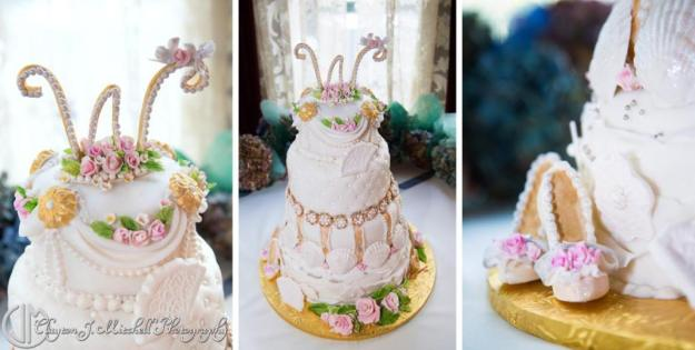wedding_cake_with_seashells_flowers_shoes_photograph