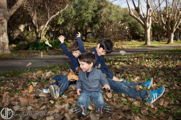 Kids playing in leaves photo