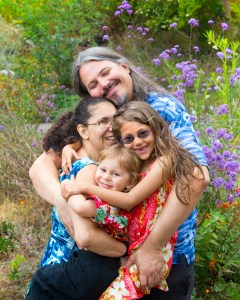 Family hugging warmly