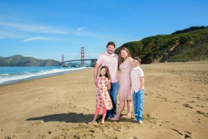 Wide angle Baker Beach family photo