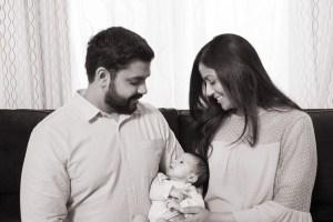 Sepia Newborn Family Portrait