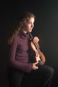 Senior with Violin shot in studio