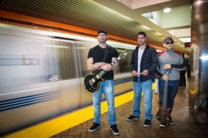 Band photo in a BART station