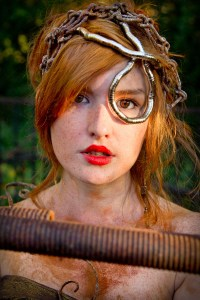 Model with iron headdress and rust