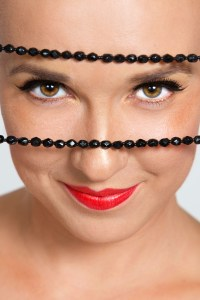 Closeup eyes with necklace