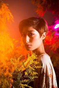 Multicolored Mimosa fashion portrait