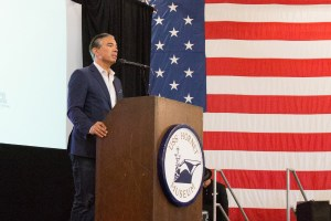 Rob Bonta speaks at event