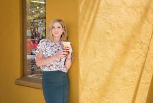 woman drinking Peets coffee in Berkeley