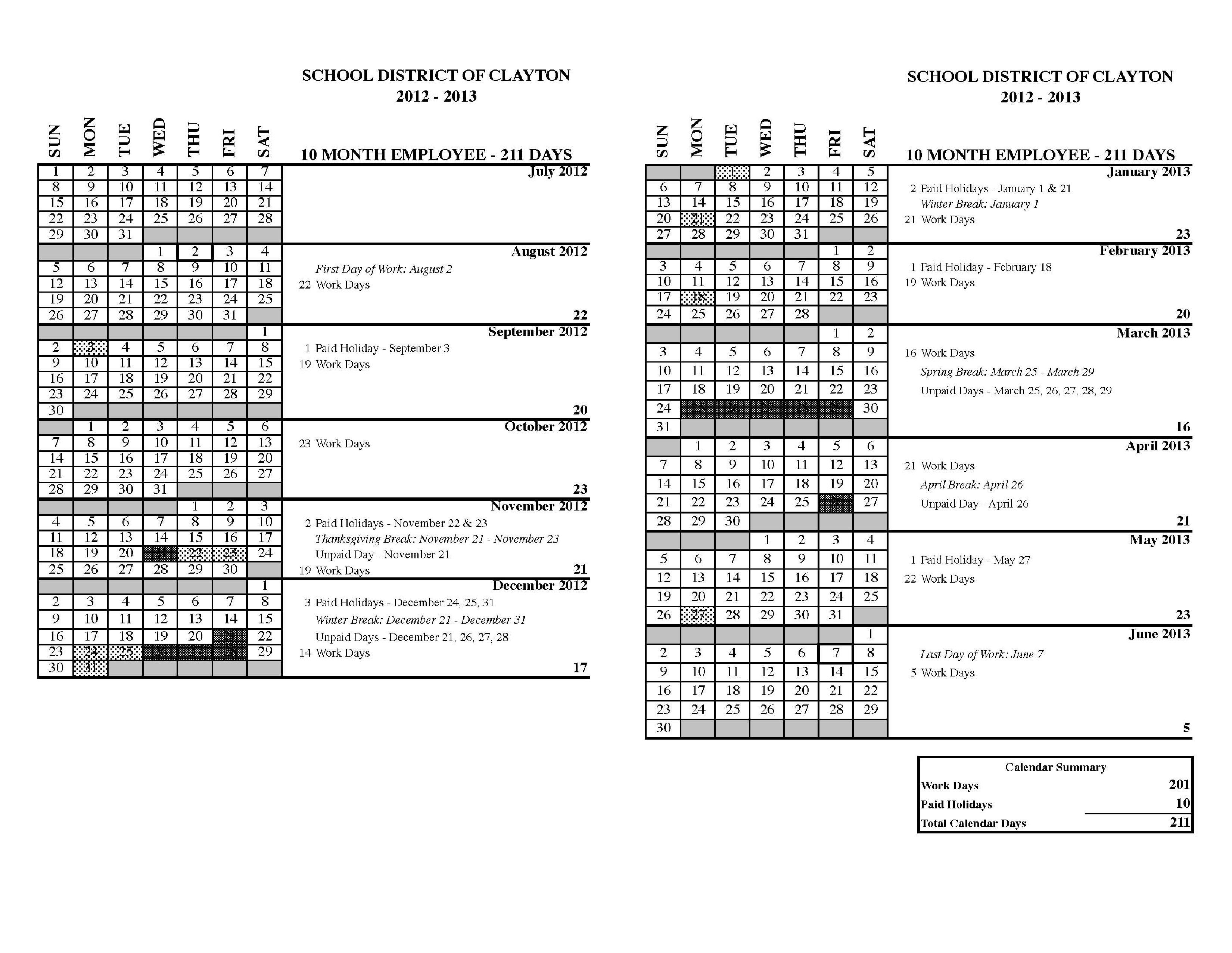 Human Resources / Calendars