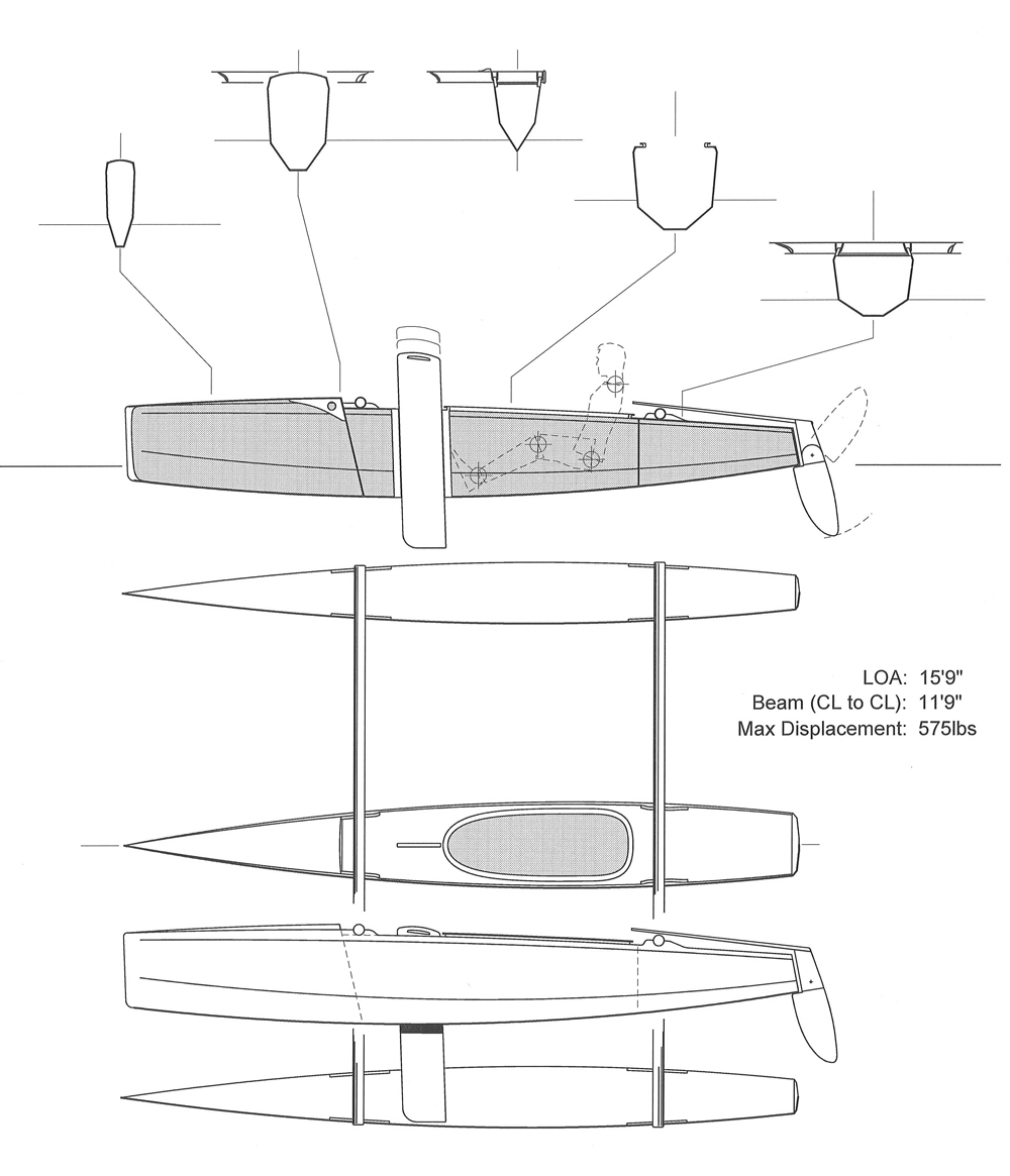 hight resolution of stitch and glue trimaran