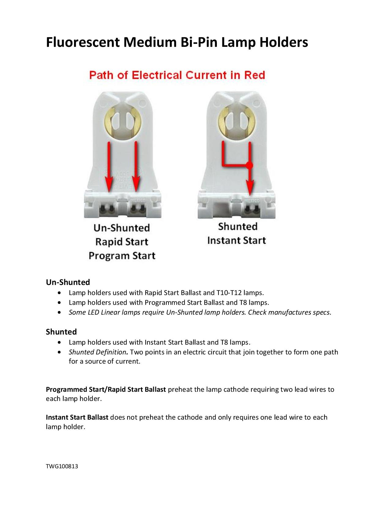 hight resolution of fluorescent bi pin lamp holders shunted and un shunted