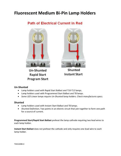 small resolution of fluorescent bi pin lamp holders shunted and un shunted