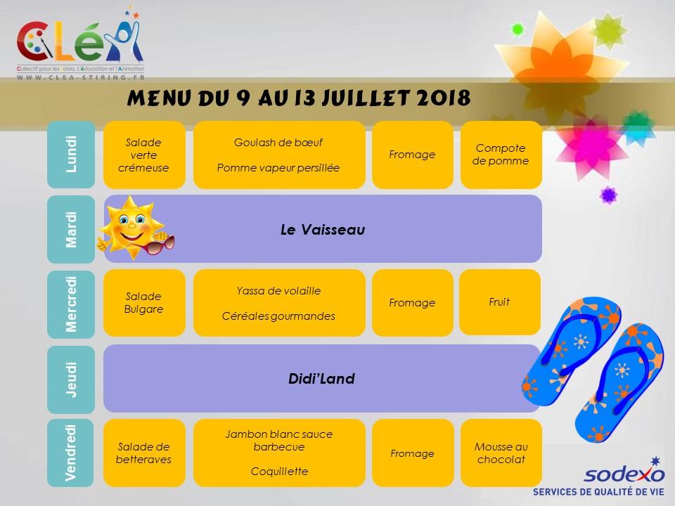 Menu de l'accueil de loisirs Juillet 2018