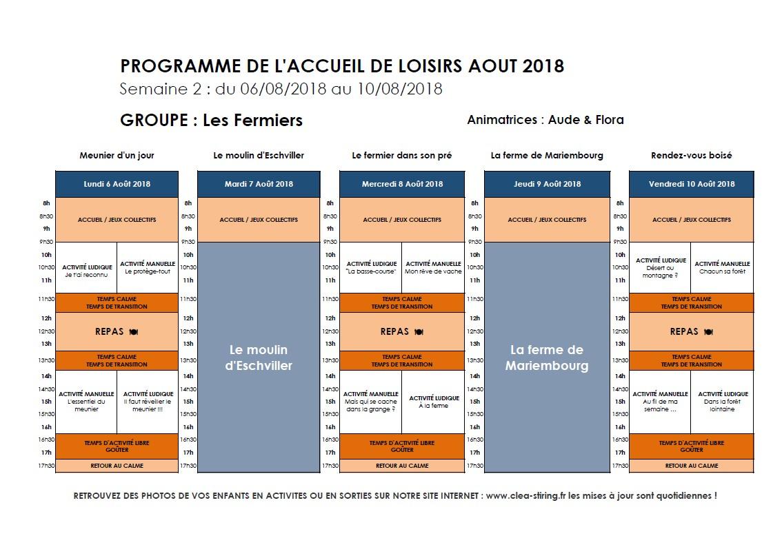Planning des activités de l'accueil de loisirs Août 2018, semaine 2/3