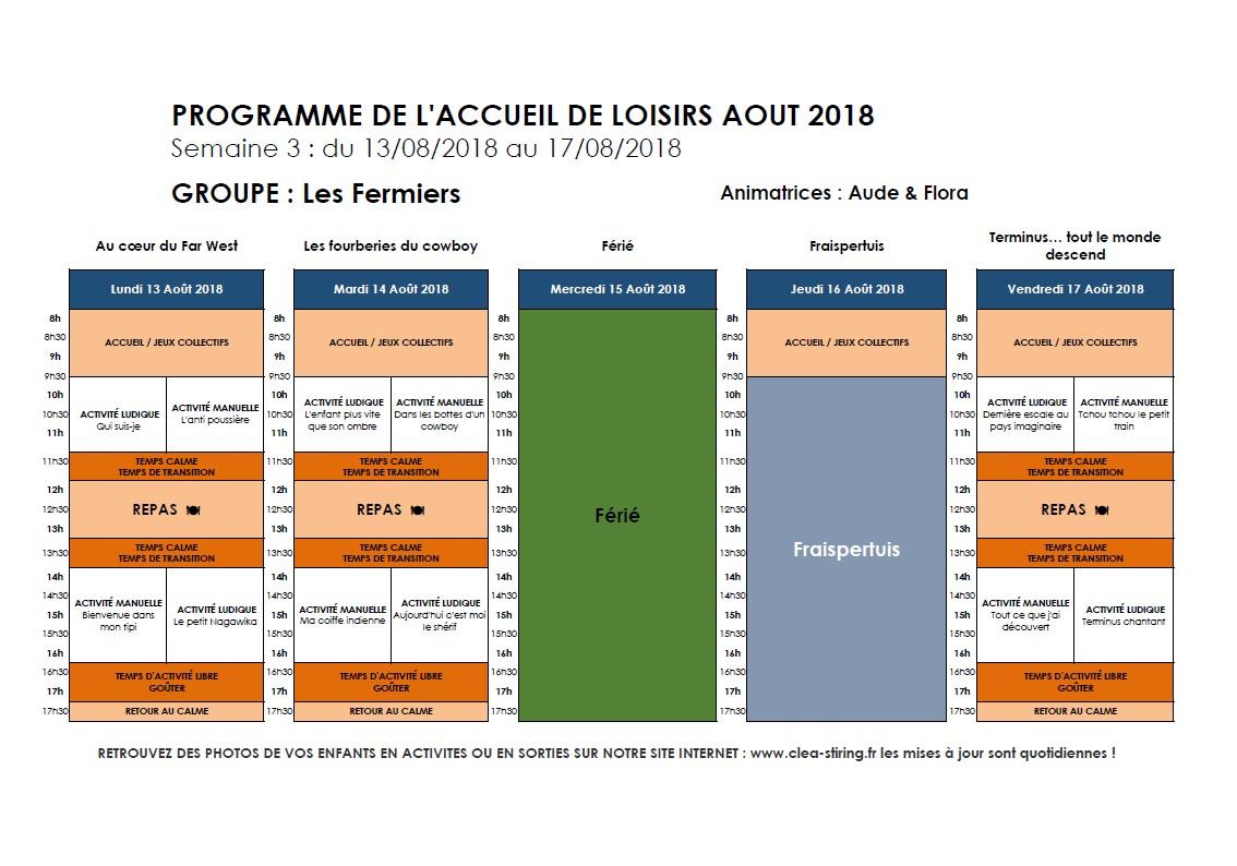 Planning des activités de l'accueil de loisirs Août 2018, semaine 3/3