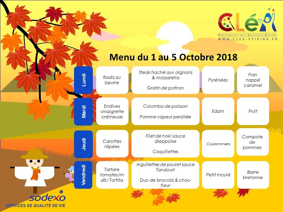 Menu périscolaire Octobre 2018