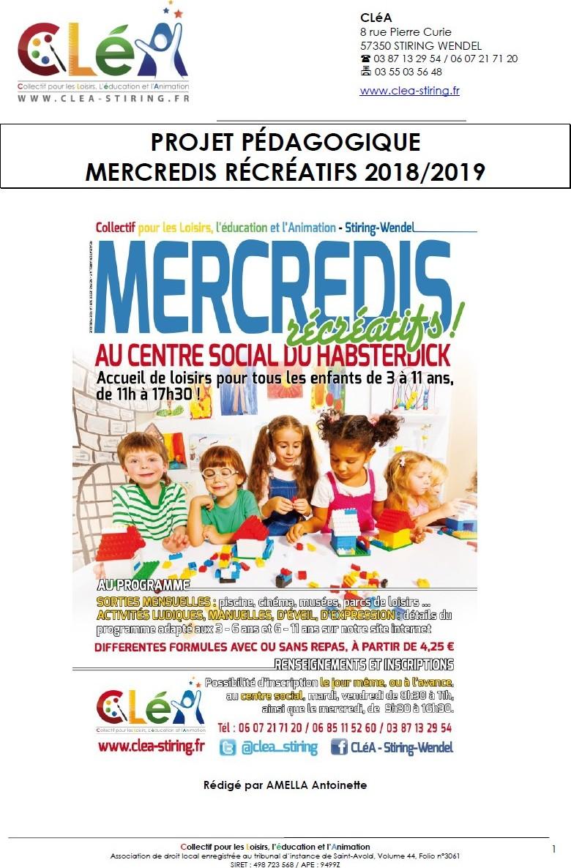 Projet pédagogique : Mercredis récréatifs 2018-2019