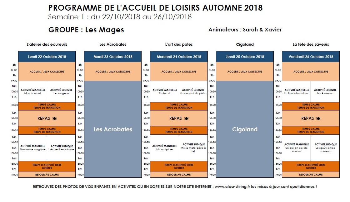 Planning des activités de l'accueil de loisirs Automne 2018, semaine 1/2