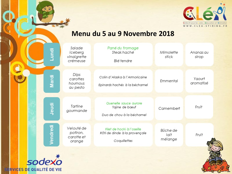 Menu périscolaire Novembre 2018