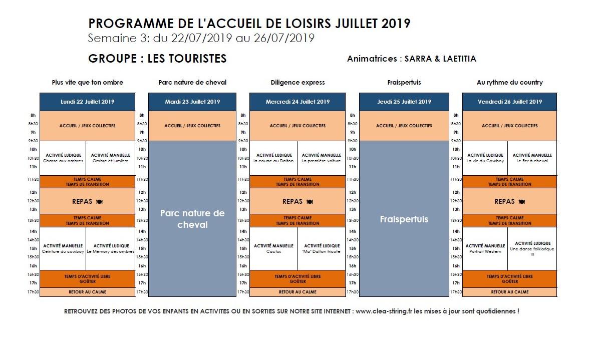 Planning des activités de l'accueil de loisirs Juillet 2019, semaine 3