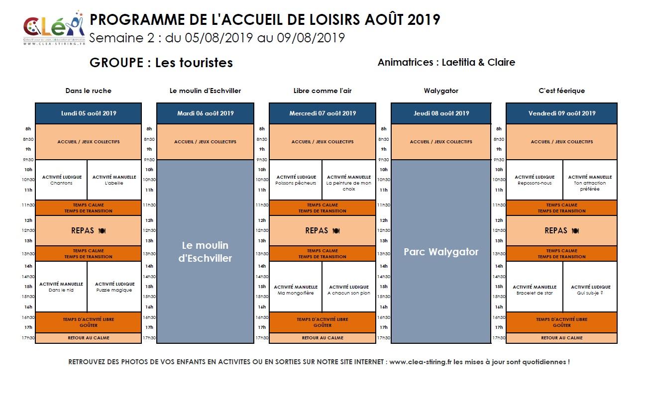 Planning des activités de l'accueil de loisirs Août 2019, semaine 2