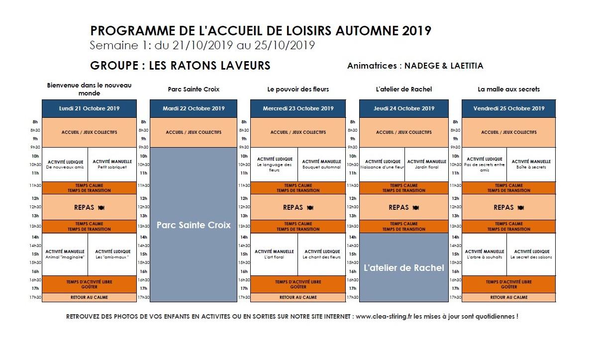 Planning des activités de l'accueil de loisirs Automne 2019, semaine 1