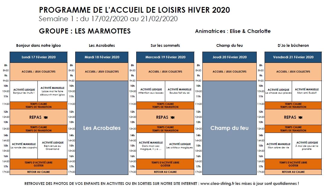 Planning des activités de l'accueil de loisirs Hiver 2020, semaine 1