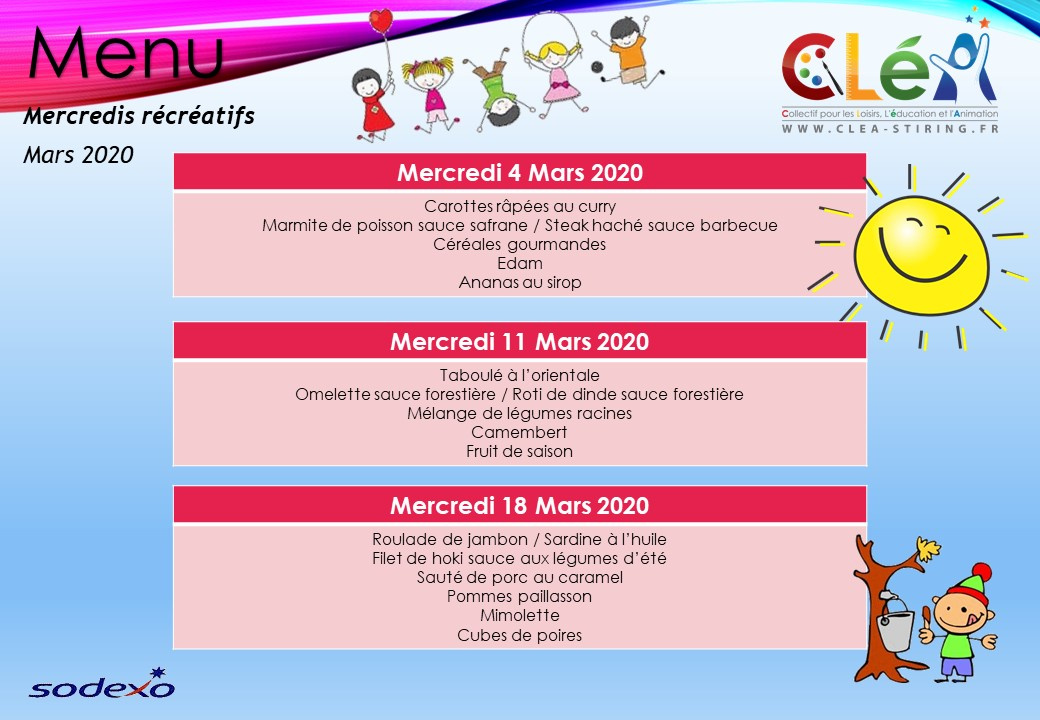 Menus Mercredis récréatifs Mars 2020