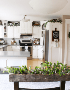 Kitchen christmas decorations white dressed in frosted greens for  festive touch also decorating ideas clean and scentsible rh cleanandscentsible