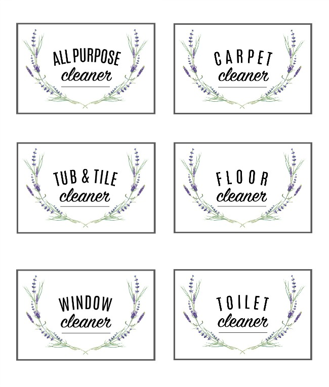 free printable cleaning labels